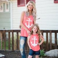 Mother Daughter Clothes 2017 Summer Style Mother Daughter T Shirt Fashion Bow Family Matching Outfits Anchor