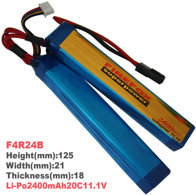 1pcs 100% Orginal FireFox 11.1V 2400mAh 20C 2 Cell Li Po AEG Battery F4R24B Drop shipping