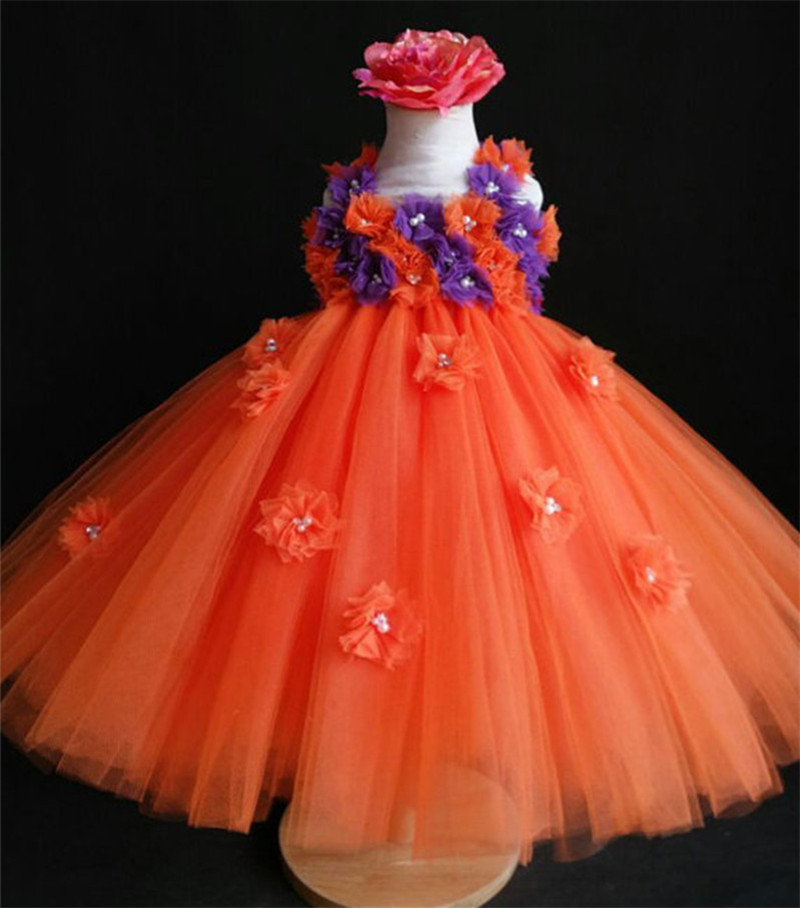 Flower Girls Dresses For Party And Wedding Orange Purple Girl Dress Kids Baby Birthday Tutu Dress Great for holiday portraits elegant white flower girl dresse light pink girls tutu dresses with pearls flower baby girls dresses for wedding party birthday