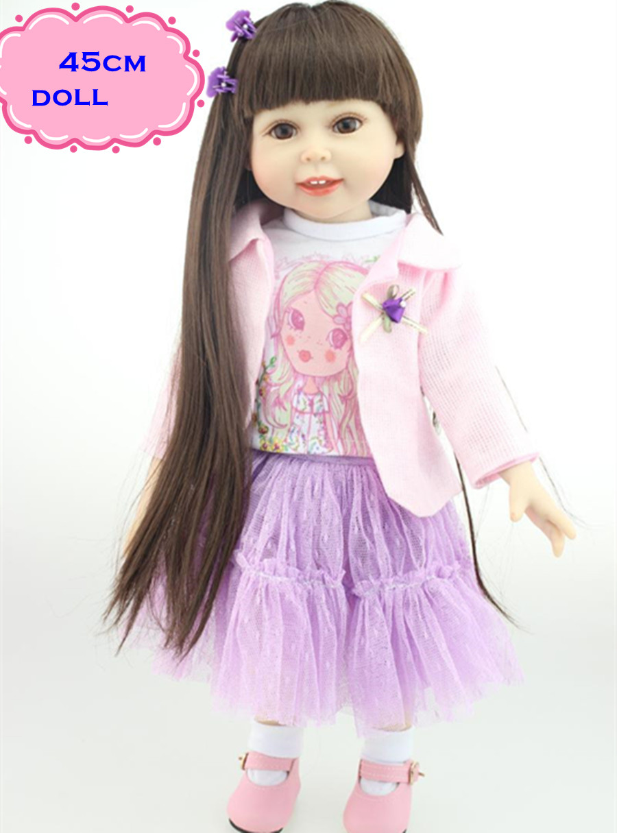 ФОТО 18inch New Pretty American Girl Doll With Long Straight Hair In Pink Cute Real Looking Full Silicone Reborn Baby Dolls For Girl