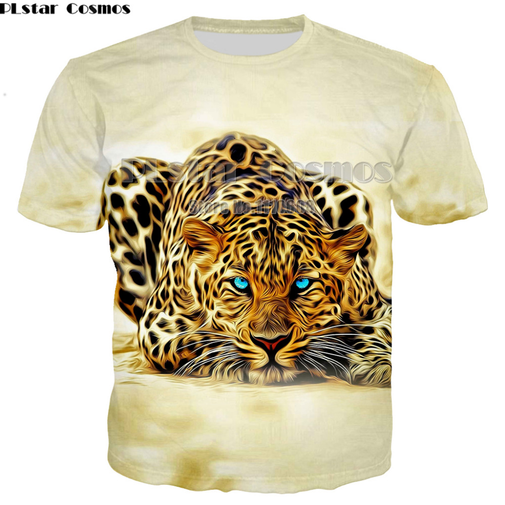 PLstar Cosmos Free Shipping Newest fashion Men women casual 2018 Summer Cheetah Animal Print Short Sleeve T Shirt