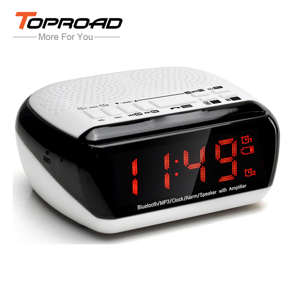 TOPROAD Bluetooth Speaker Wireless Portable Alarm Clock Speaker With FM Radio Time Display