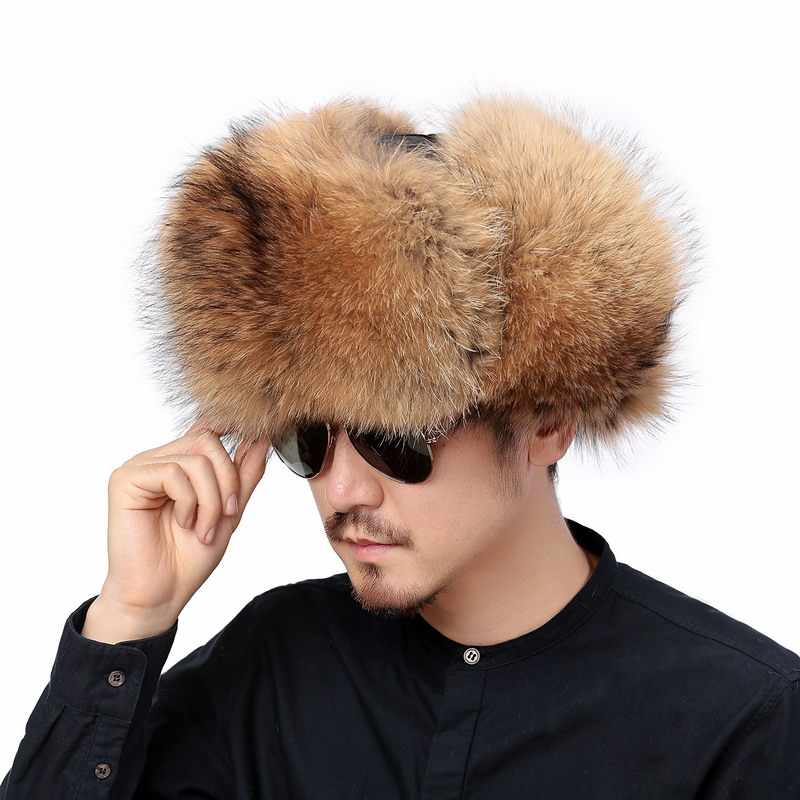 ... Valpeak Winter Bomber Hat Real Natural Fox Fur Hat Russian Hat Ushanka  Men Warm Leather Trapper dec2b7305711