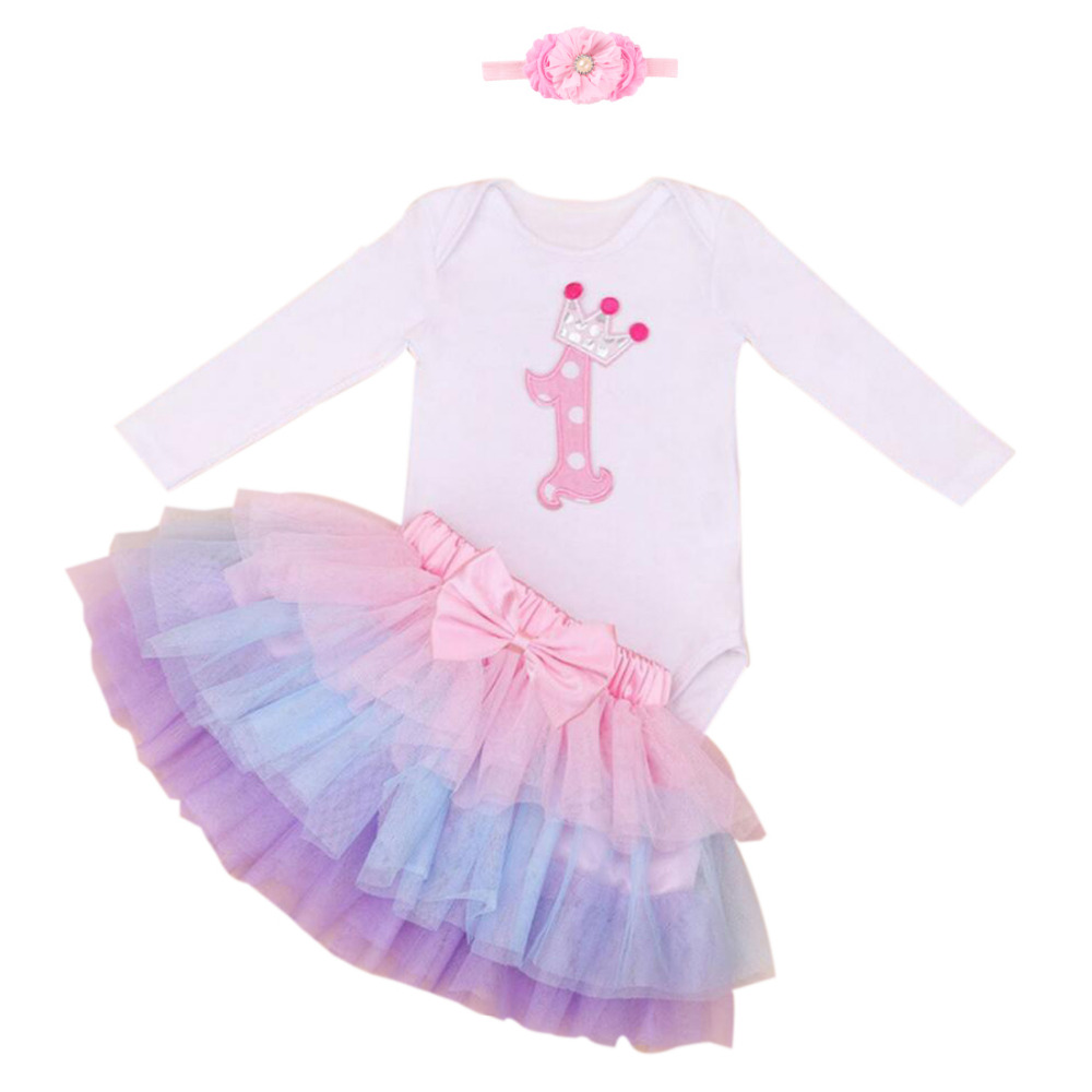 3PCs per sett Pink Purple Long Sleeves Baby Girl 1st Birthday Tutu - Baby klær - Bilde 1