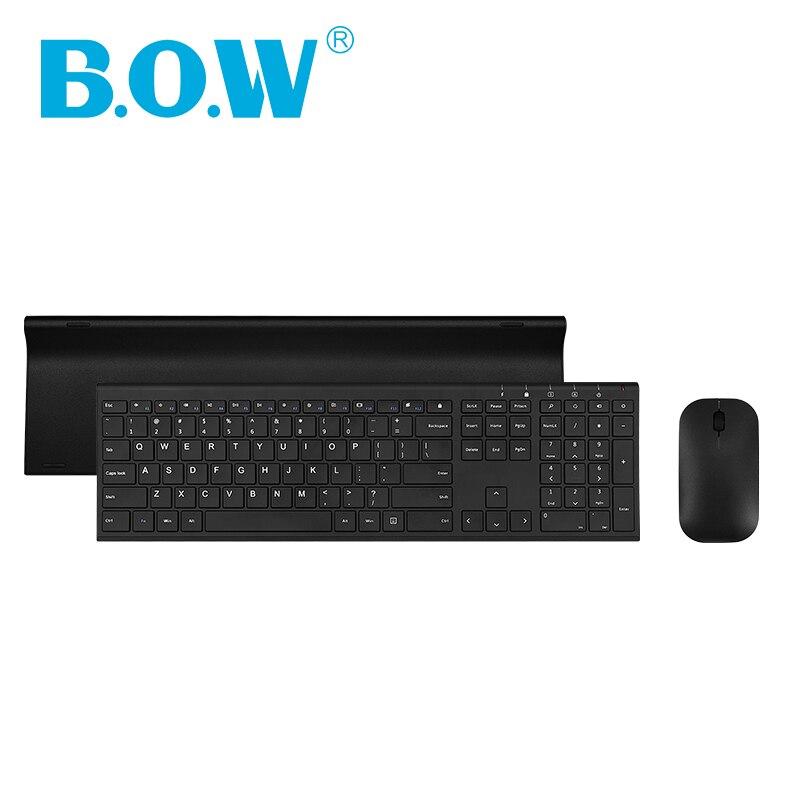 B.O.W Slim Matte Metal feel 2.4Ghz Wireless keyboard, Ultra thin Rechargeable Full Size keyboard combo with Nano USB Receiver