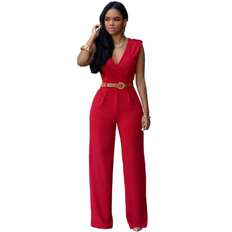 Deep V-neck High Waisted Monos Rompers With Sashes Solid Color Street Style Fashion Long Playsuits Sexy Women's   Jumpsuits   S-XL