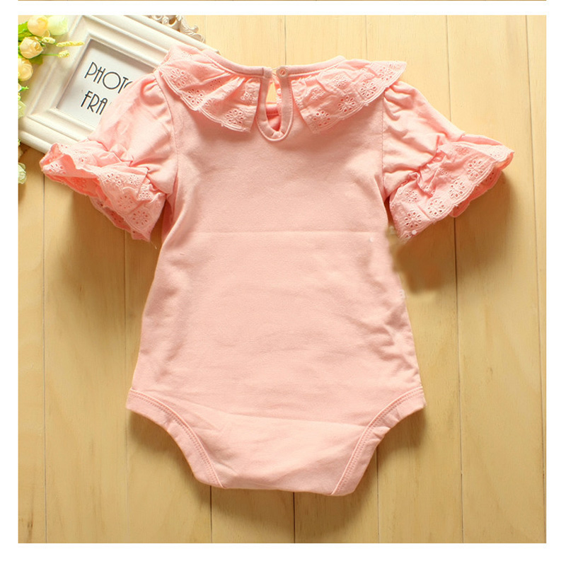 16bfc55243d9 Buy Baby girl clothes Flower Lace Collar Infant Baby Girls Short ...