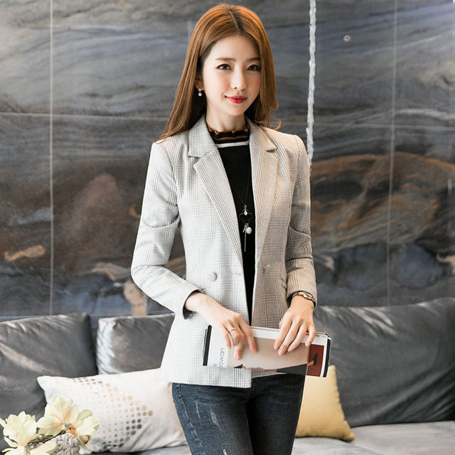 c39922250f7 Women Plaid Blazer 2018 Spring Autumn Women Casual Blazer Jacket Plus Size  XXXL