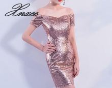 Rose gold sequined dress short paragraph 2019 summer new Slim off the shoulder fashion party