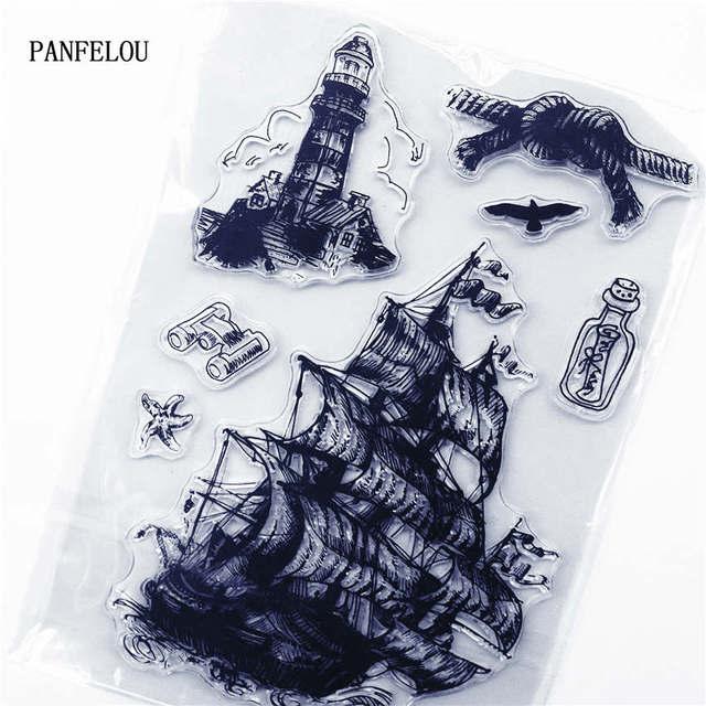 PANFELOU пиратский корабль прозрачный силиконовый каучук прозрачные марки мультфильм для скрапбукинга/DIY Рождественский свадебный альбом