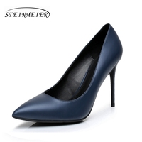 Women High Heels Pumps 10cm 12cm Sexy Lady Single Shoes Blue US8 Party Shallow Mouth Wedding