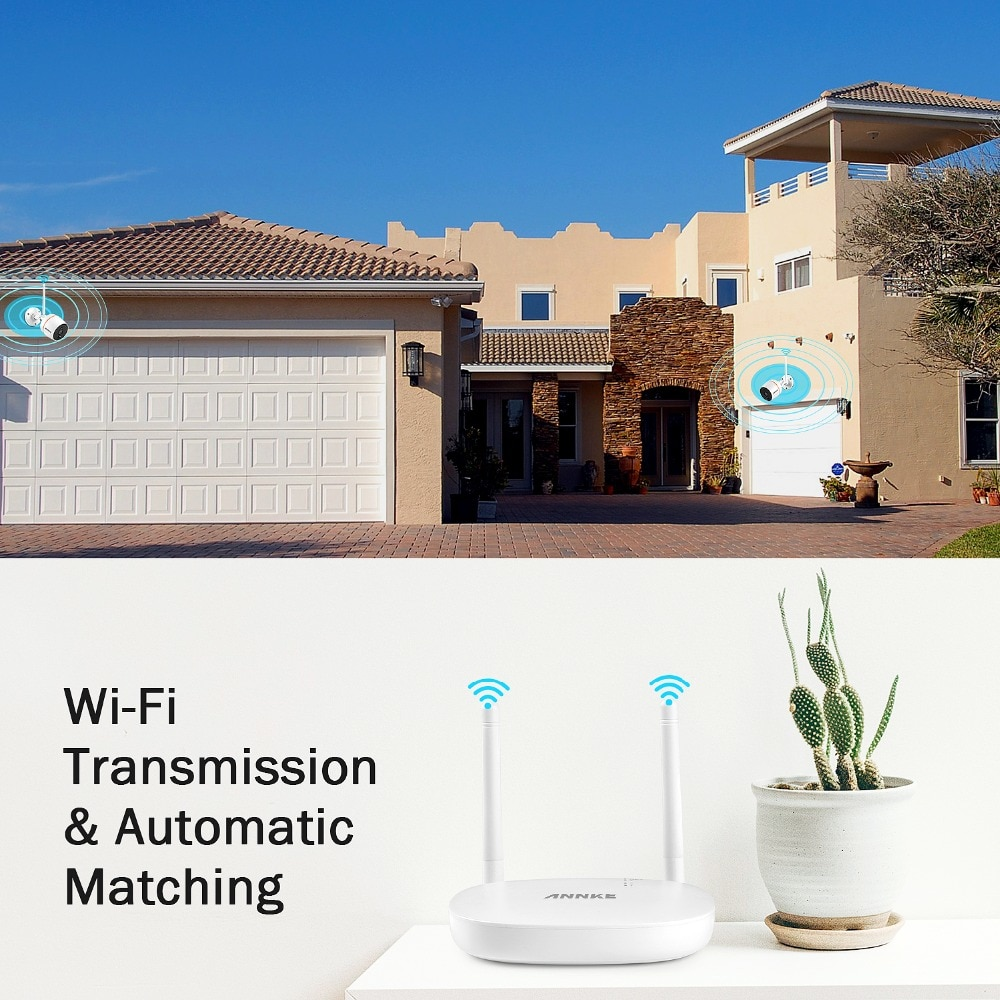 ANNKE 1080P 4CH  FHD Mini Wireless Video Surveillance System Wifi 2pcs 2MP IP Camera Two-way Audio PIR Home Security CCTV Kit