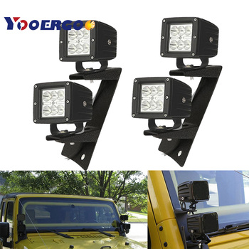 Windshield Hinge Lower Corner A Pillar Mounting Bracket + 4X 3 Inch 18W Pods LED Work Light For Jeep Wrangler JK 07-18