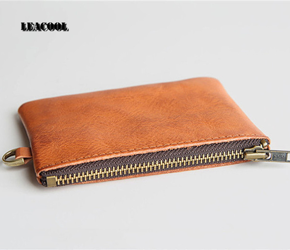 Leacool Men Genuine Leather Coin Purse Mens Small Zipper Wallets Coin Bag Women Girls Vintage Solid Mini Money Pouch Holders