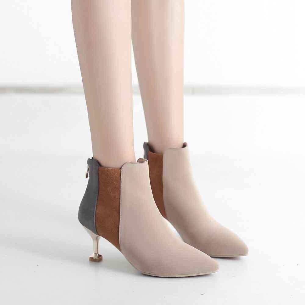 Botas 2019 Las Nueva Negro Tacón Uniforme Zapatos Youyedian Mujer Pie Elegante De Colores khaki Mujeres Puntiagudo G25 Mezclados Dedo Moda Tobillo Del qUFwFtdZ