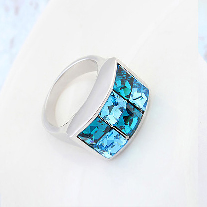 ab50967a0 Hot New Design Square Multi color Crystals From Swarovski Rings Fashion  Noble White Gold Color Party jewelry For Women-in Rings from Jewelry &  Accessories ...