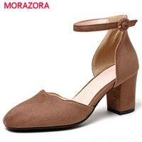 Morazora zapatos de la boda del partido mujeres bombas flock hebilla sólida moda tacones altos zapatos cuadrados dedo del pie zapatos de verano de gran tamaño 34 -43