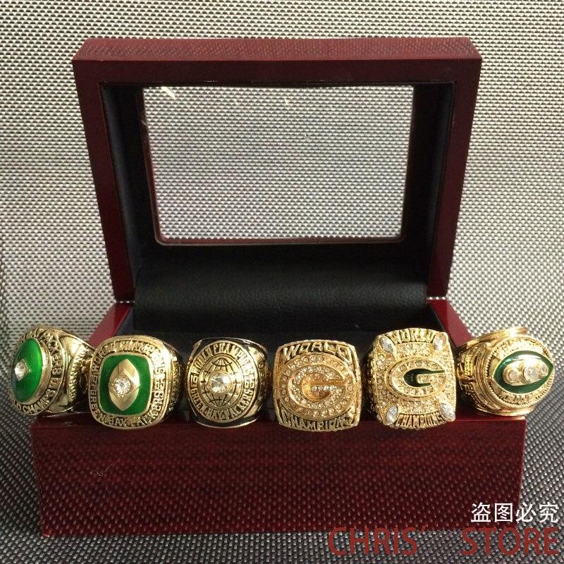 6 teile/satz Kostenloser Versand Hohe Qualität 1961 1965 1966 1967 1996 2010 Green Bay Packers Championship Ring Set, Weihnachtsgeschenk ring