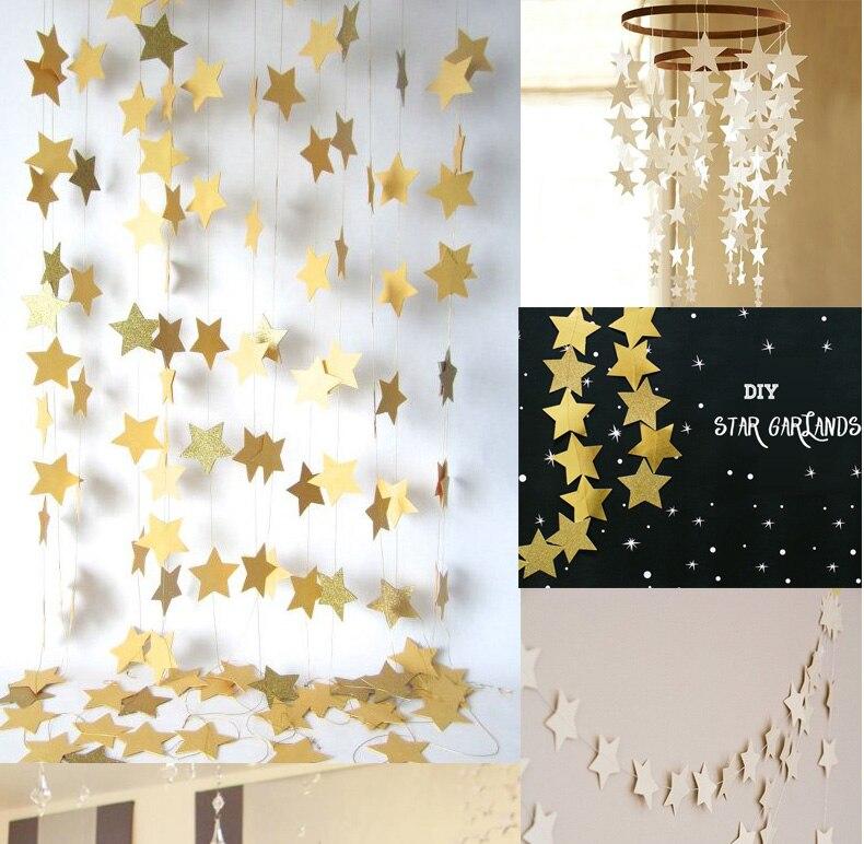 35 pièces Bojar Nouveau 4 m Longue Brillant Étoiles Suspendus Papier Guirlandes Chaîne Chaîne Maison De Noce D'anniversaire Enfants