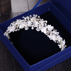 Винтажная керамика, горный хрусталь, жемчужный цветок, диадема в виде короны, ободок для волос, кристальная диадема, корона, аксессуары для волос на свадьбу