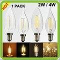 Qualidade superior fabricante 1 pacote 2 W ou 4 W LED candle luz cob levou filamento de vidro luminárias E14 led retro edision lâmpadas