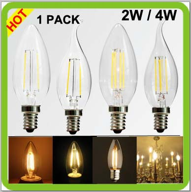 Top quality manufacturer 1 pack 2W or 4W LED candle light glass cob led filament luminaires E14 led retro edision lamps