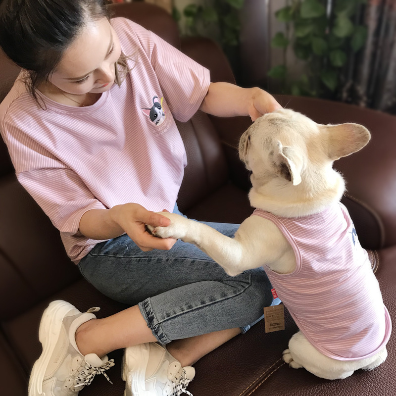 2018 Cute Dog Clothes For Small Dogs French Bulldog Cotton Vest Coat Chihuahua Clothing Spring Summer Pet Clothes for Large Dog