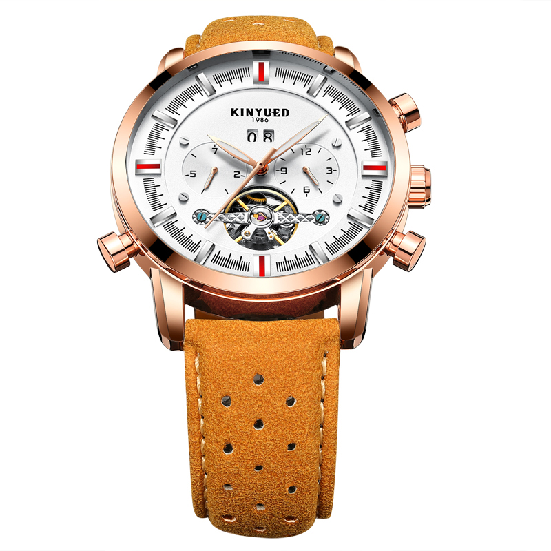 69da96d18d1 Kinyued Relógio Mecânico Automático Pulseira de Couro de Luxo Homens ...