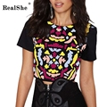 RealShe T Shirt Women 2017 Spring Autumn Sexy Round Neck T Shirt Woman Short Sleeve Black T-shirt Women Casual Printed Tops