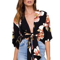 New Arrlval Deep V Neck Floral Printed Bow Tie Casual Shirts Tops Kimono Cardigans Women S