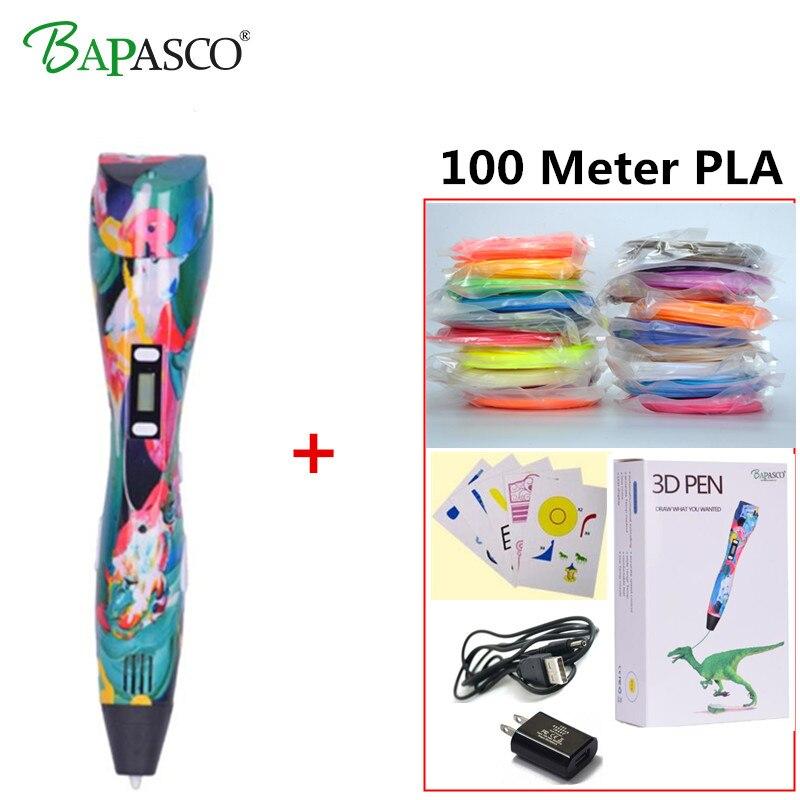 Bapasco 3d pen+20 Colour *5m PLA filament(100m),3 d pen 3d model,3d drawing pen printing pen,Best Gift for Kids creative,pen-3d