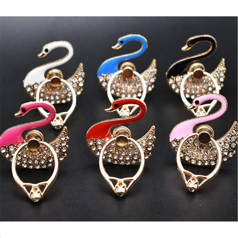 360 Degree Metal Diamond Swan Finger Ring Smartphone Cell Phone Stand Holder Mobile Phone Holder Stand For IPhone All Phone