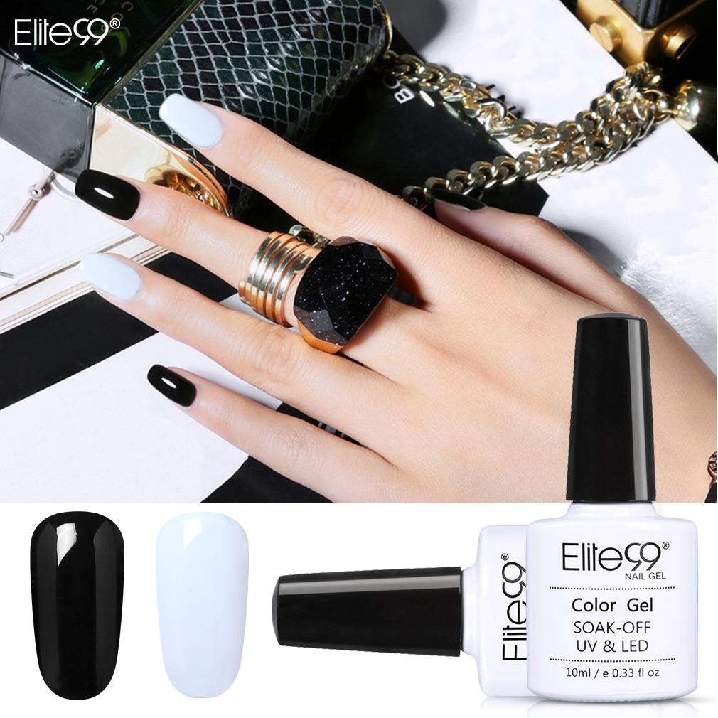 Us 1 72 35 Off Elite99 10ml Pure Color Uv Led Gel Polish Soak Off Black White Color Gel Nail Lacquer Long Lasting Nail Art Design Gel Varnishes In