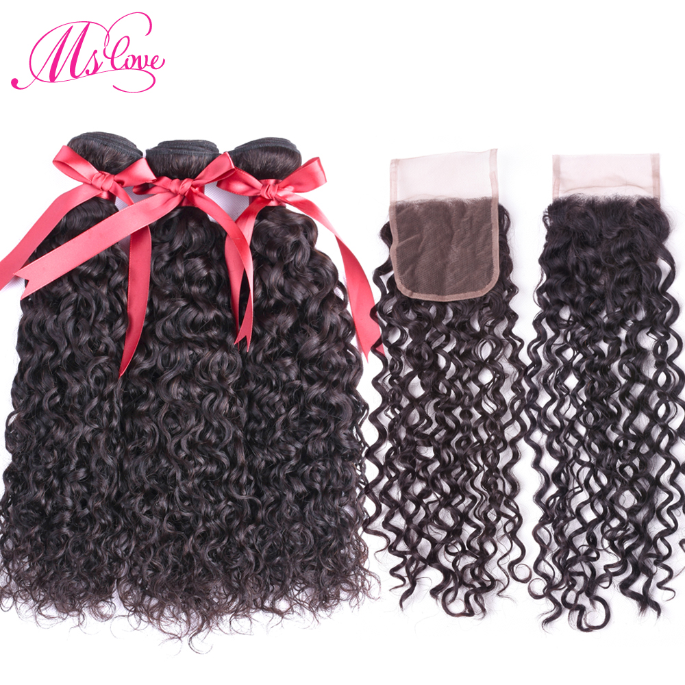 Water Wave 3 Bundles With Closure Remy Peruvian Hair Bundles With Lace Closure 4x4 Natural Color