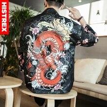 HISTREX Áo Kimono Nhật Bản 3D In Hình Rồng Trung Quốc Phối Áo Sơ Mi Người Mùa Hè Ngộ Nghĩnh Bông Tai Kẹp Áo Sơ Mi Phong Cách Áo Khoác Hawaii Áo Sơ Mi 2XL