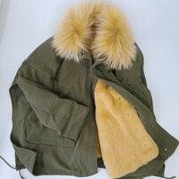2019 натуральный мех пальто зимняя куртка женская армейская зеленая парка енотовая собака меховой воротник натуральный мех кролика лайнер С
