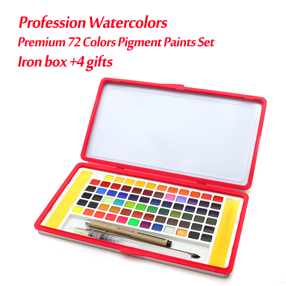 Premium 72 Colors Iron Box Solid Watercolor Paints Set Professional Water Colors For Adults Kids Painting