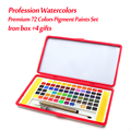 Premium 72 cores ferro caixa sólida aquarela tintas definir cores de água profissional para adultos crianças pintura presentes bonitos