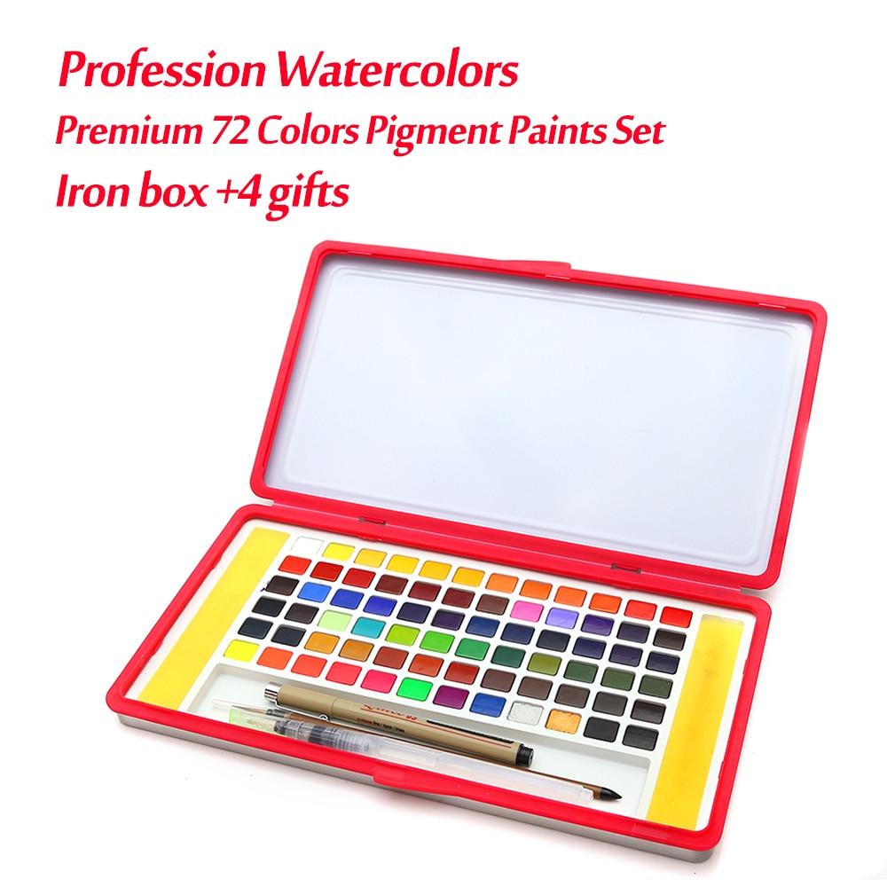 Premium 72 couleurs boîte de fer solide aquarelle peintures ensemble professionnel couleurs de l'eau pour adultes enfants peinture beaux cadeaux