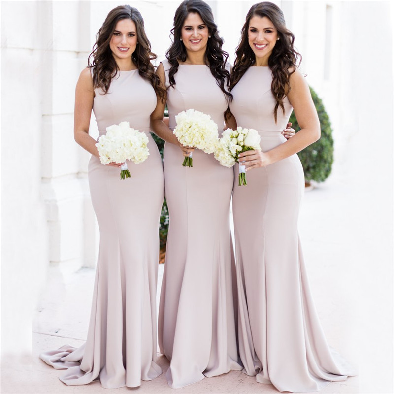 Gorgeous O Neck Cheap Country   Bridesmaids     Dresses   2019 Plus Size Mermaid Beach After Party Look Maid of Honors Vestido longo