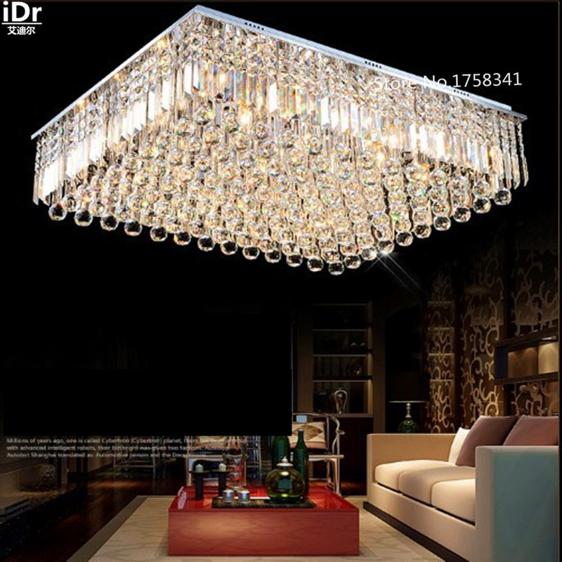 Free shipping K9 crystal chandelier modern square ceiling crystal lamp L80x W80x H25CM living room lights d250mm crystal ceiling lamp bed room ceiling lights top crystal ball k9 crystal modern ceiling lights free shipping