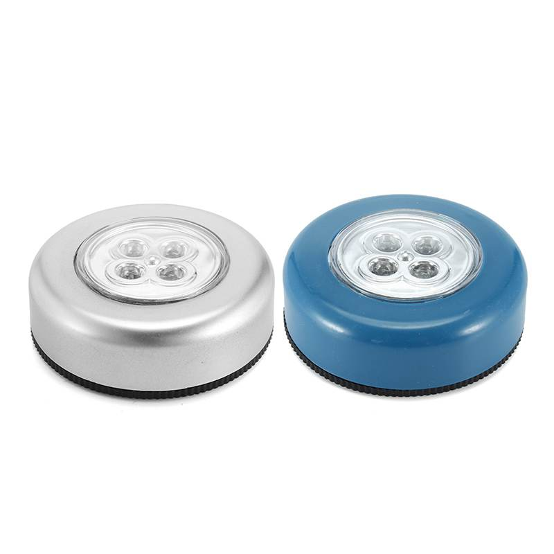 Silver/Blue Cabinet lamp Battery Powered Wheels Shaped Wall Lamp Wireless Cordless Touch Stick 4 LED Night Light Lamp