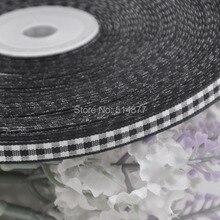 2 8 6mm Black tartan plaid ribbon bows appliques craft sewing doll Lots U pick 50Yard