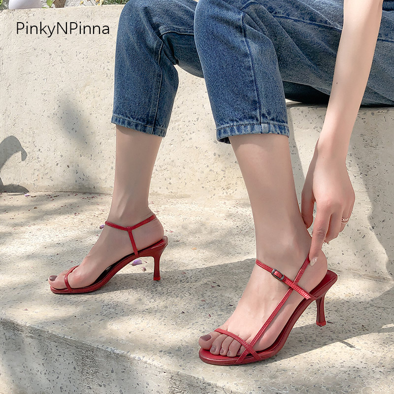 Runway style sexy women designer red sandals high kitten heels side strap open toe sheepskin genuine leather party dress shoes in High Heels from Shoes
