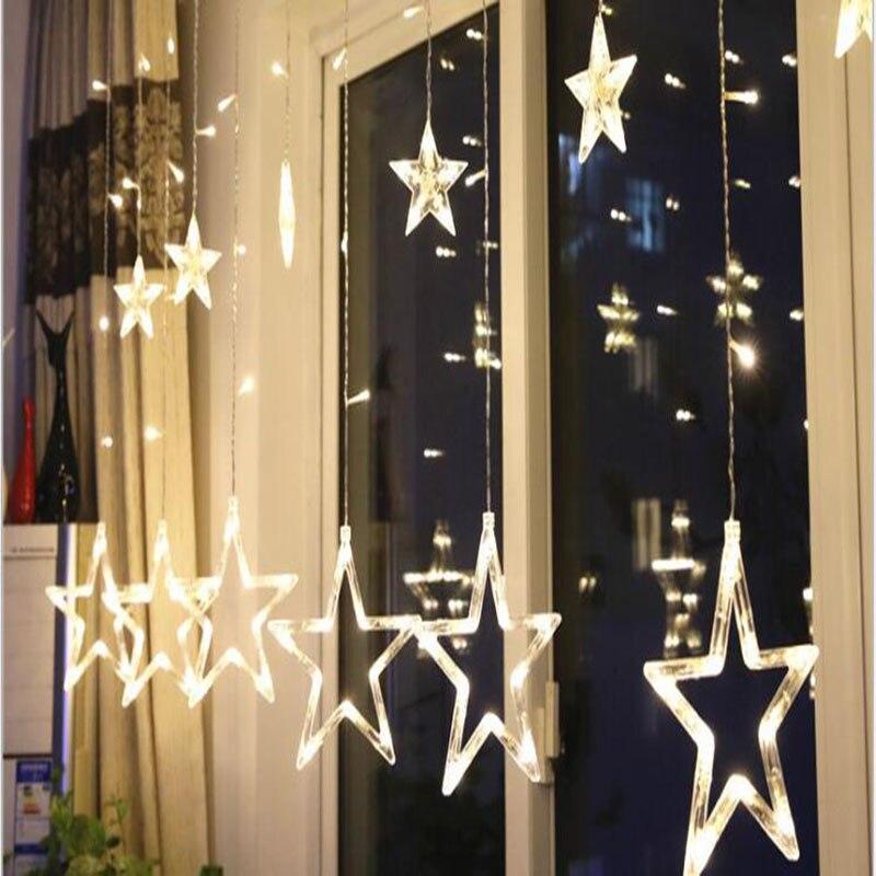 LED lumières rideaux pentagramme rideaux décoration de noël arrangements de mariage.