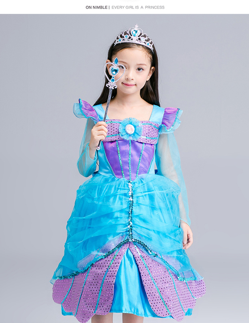 5a32df174137e Handmade Party Girls Tutu Dress Kids Halloween Cosplay Mermaid Ariel ...