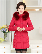 Winter Cotton Coat Middle – Aged Mother Loaded Cotton Jacket Thicker In The Long Section Of Cotton Collar Jacket