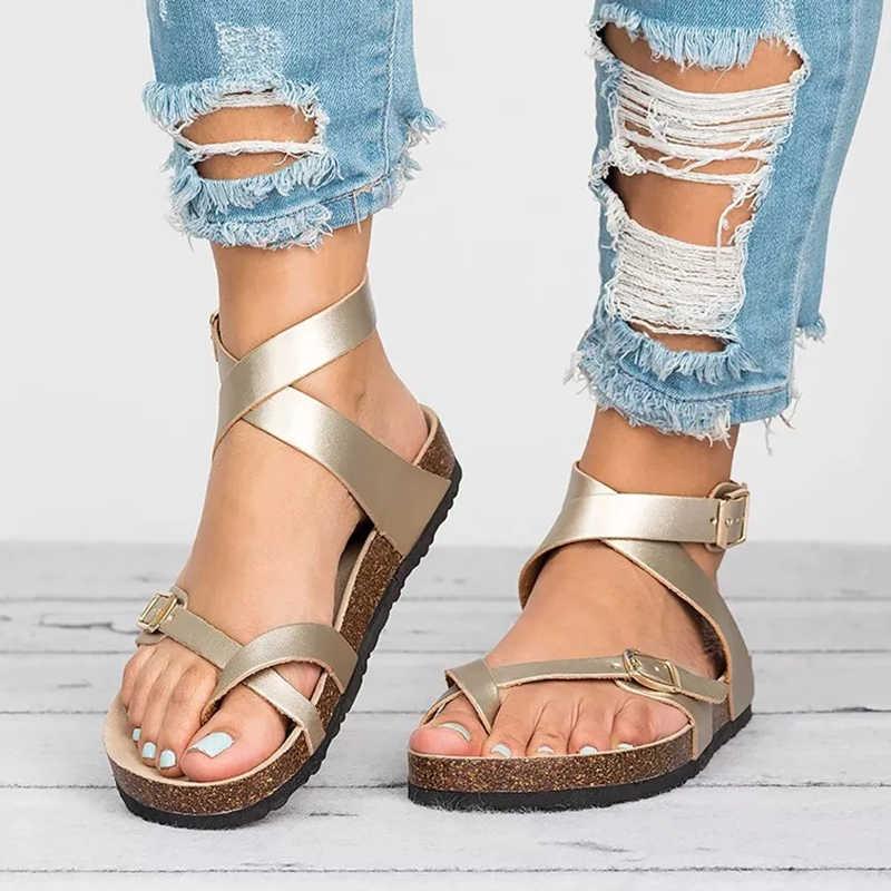 בסיסי נשים סנדלי 2020 חדש נשים קיץ סנדלים בתוספת גודל 43 עור שטוח סנדלי כישלון להעיף מזדמנים חוף נעליים גבירותיי