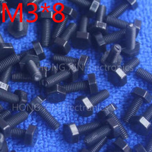 M3*8 8mm black 1pcs Hexagonal nylon Screws plastic Insulation bolts Fasteners brand new RoHS compliant PC/board DIY hobby