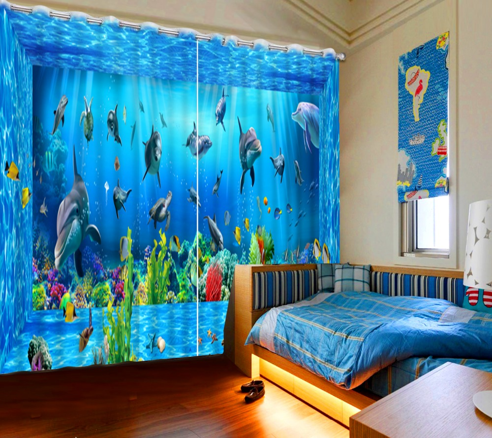 custom 3d curtains wooden underwater world dolphin curtains sheer cortinas for living room modern christmas curtains for window